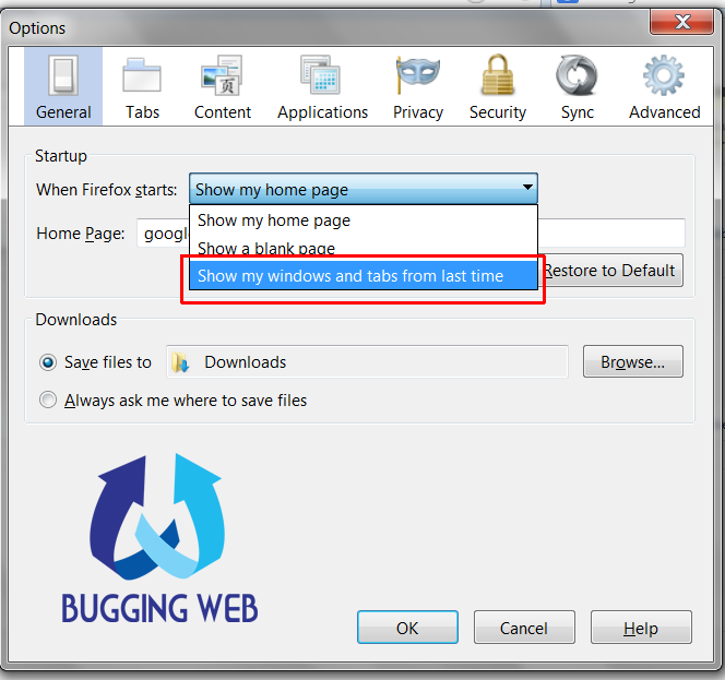 How to open last browsing tabs in Google Chrome Mozilla Firefox and IE_2_buggingweb