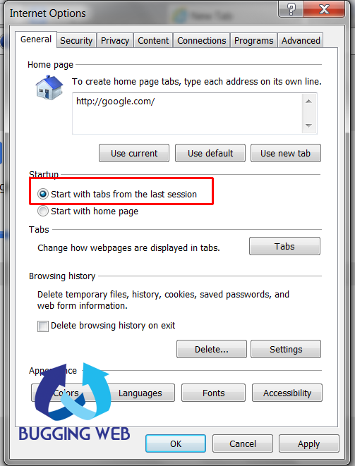 How to open last browsing tabs in Google Chrome Mozilla Firefox and IE_3_buggingweb